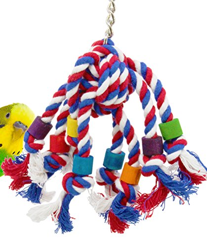 Bonka Bird Toys 55094 Rope Jumble Plucking Preening Bird Toy for Pet Budgie Parakeet Lovebirds Conures Small or Medium Parrots Cages
