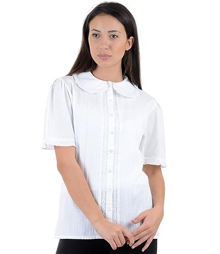 Cotton Lane – Camisas – camisa – Manga corta – para mujer blanco blanco 40