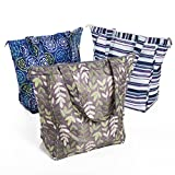 Rachael Ray Market Tote Bags, Set of 3 Gift Boxed Reusable Grocery/Shopping Tote Bags, Zipper Top, Foldable, Multi Colored