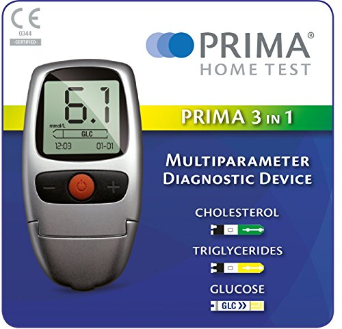 PRIMA 3 IN 1 SELF TESTING KIT FOR CHOLESTEROL, TRIGLYCERIDES, GLUCOSE