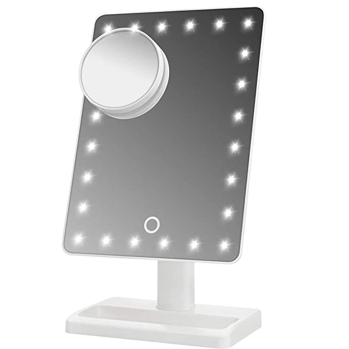 Waneway Large Lighted Makeup Vanity Dressing Table Mirror with 24 LED Light, Illuminated Tabletops Cosmetic Mirror, with 10x Magnification Detail Mirror and Dimmer Switch, Battery Operated, White-Best-Popular-Product