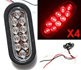 """4 Clear Lens Red Oval Oblong Sealed 6"""" LED Stop Turn Tail Light"""