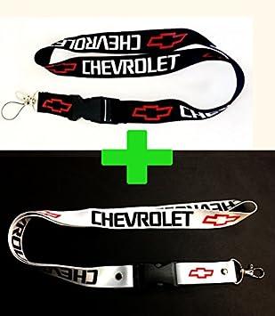 Chevrolet Lanyards - Juego de 2 cintas para colgar identificaciones, insignias o llaves al cuello, con el logotipo de Chevrolet en blanco, negro y rojo, de 2,5 x 55,8 cm: Amazon.es: Coche y moto