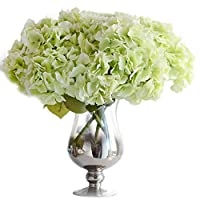 LianLe Artificial Hydrangea Flower 5 Big Heads Bouquet flowers Craft Ornaments without Vase(Lightgreen)