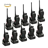 Galwad 888s Rechargeable Walkie Talkies, Signal Band UHF400-470 MHz 16 Channels Two Way Radios with Earpieces, Built in Led Torch for Camping Hiking Travelling ( Pack of 10)
