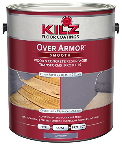KILZ Over Armor Smooth Wood/Concrete Coating, 1 gallon, Slate Gray (Best Deck Over Paint)