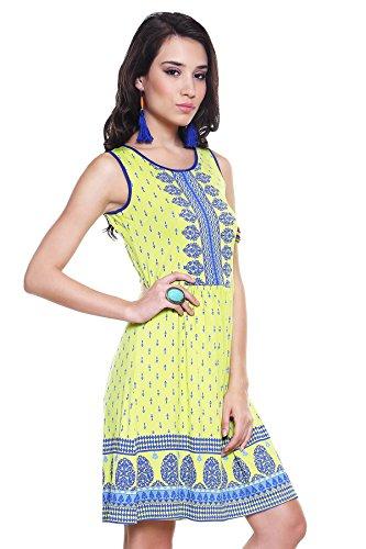 Global Desi Womens Boho Decorative Printed Yoke and Hem Dress Small Lime
