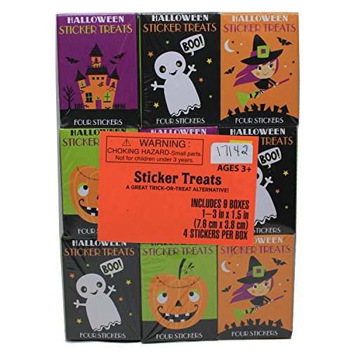 9 Box Halloween Sticker Treat -