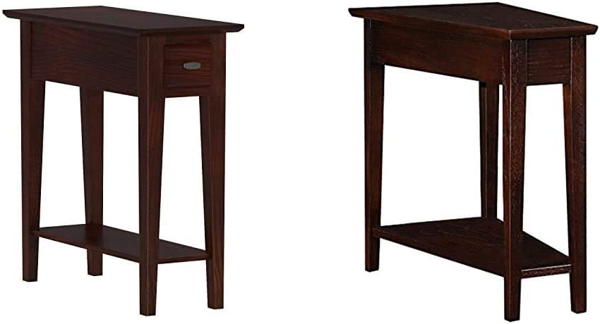 Leick Chairside End Table | Narrow Recliner Side Table | Solid Wood 10 inch Wide | Hand Applied Cherry Finish & Leick Recliner Wedge Table, Chocolate Oak