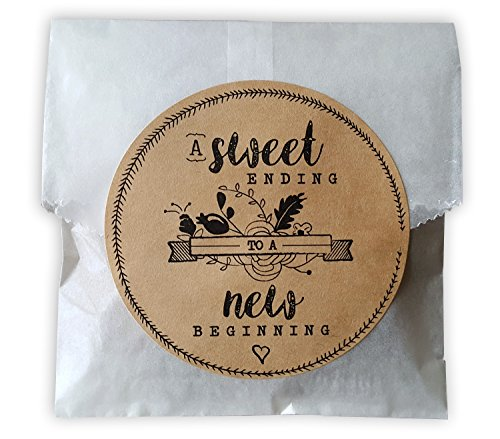 Bags Favor Glassine (Glassine Food Safe Cookie Bags with Kraft Paper Stickers for Rustic Or Bohemian Style Wedding Favors, Bridal Showers and Parties 24 ct A Sweet Ending to a New Beginning)