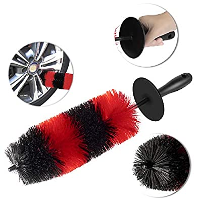 David City Wheel Brush for Car Wheel Detailing$Rim Cleaning Washing-18''Long 4''Diameter Upgraded Version-Soft Bristle No Injuries Tire Brush for Rims,Vehicles,Engines,Exhaust Pipes,Motorcycle ect.…: Automotive