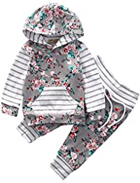 honeys Baby Girl 2pcs Set Outfit Flower Print Hoodies With Pocket Top+Striped Long Pants