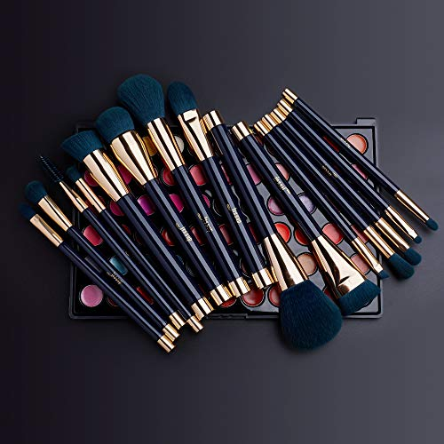 Jessup 15pcs Makeup Brushes Set Powder Foundation Eyeshadow Eyeliner Lip Contour Concealer Smudge Brush Tool Blue…