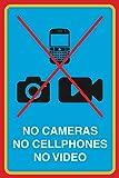 No Cameras No Cellphones No Video Print Picture Public Notice School Office Business Sign Aluminum Metal