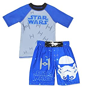 Star Wars Boys Swim Trunks Rash Guard Swimsuit Set (Little Kid/Big Kid)