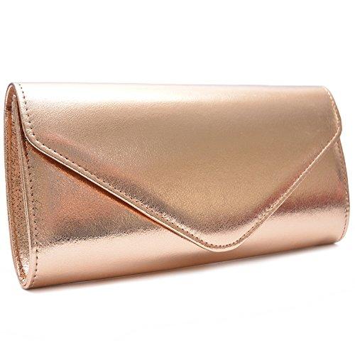 Vain Secrets Damen Umhängetasche Abendtasche Clutch im Metallic Look in vielen Farben Bronze sV3VOoC8