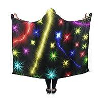 RYUIFI Hooded Blanket Fireworks Star Light Lights Abstract Blanket 60x50 Inch Comfotable Hooded Throw Wrap