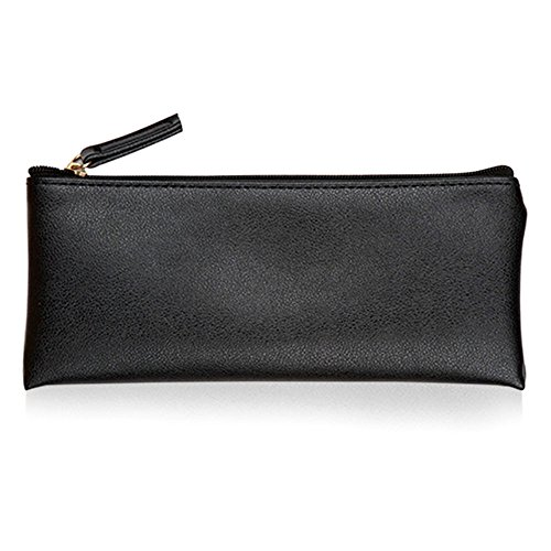 Minimalist Soft PU Leather Pencil Case Handy Travel Organizer Purse Pouch Makeup Bag Black - 5mm Coin