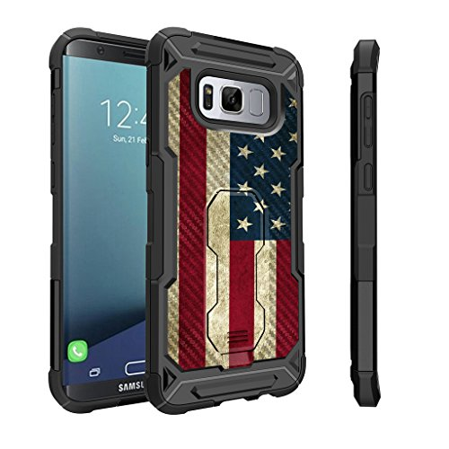 Untouchble Case for [ Samsung Galaxy S8 Plus, S8+ Holster Case] Heavy Duty Protector with Swivel Holster [Shockproof] - Vintage American (Flag Phone)