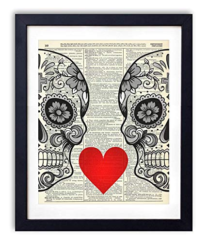 (Sugar Skull Love With Flowers Upcycled Vintage Dictionary Art Print 8x10 )