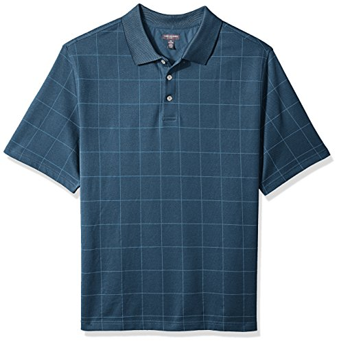 Mens Windowpane - Van Heusen Men's Size Big and Tall Flex Short Sleeve Stretch Windowpane Polo Shirt, Deep Low Tide, 2X-Large