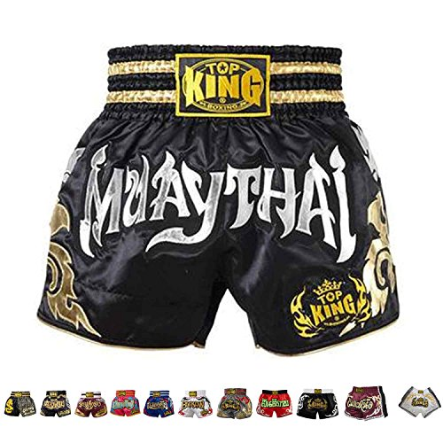 Top King Boxing Muay Thai Shorts Normal or Retro Style Size S, M, L, XL, 3L, 4L (70 - Black/Silver,M)
