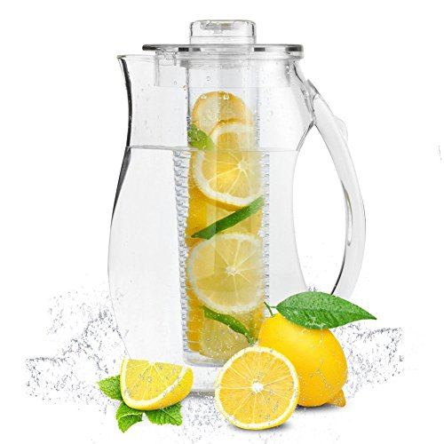 Transparent Pitcher (Infuser Pitcher | 3 Pcs of 2.9 Quartz / 2.75 L Lemon Tea Flavored Infusion Water Pitcher | Shatter Proof Acrylic Material with Removable Core | Excellent for Fruit Herb Tea Beverage | 1382.03)