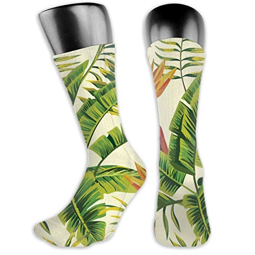 TLDRZD Unisex Hawaiian Plant Color Flowers Novelty Stockings Funny Crazy 3D Print Casual Crew Tube Socks