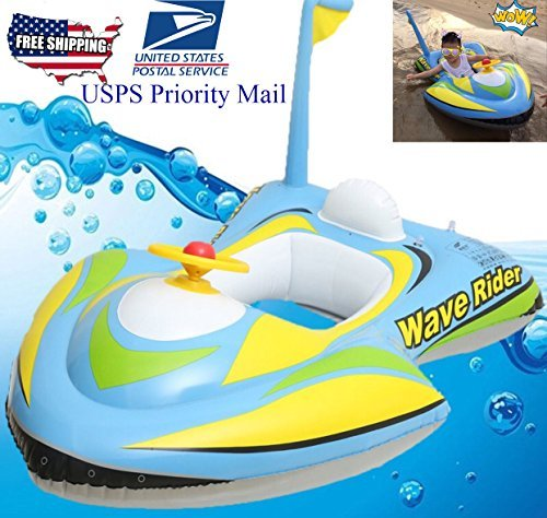 qicaibei kids toddler inflatable jet boat motoboat wave rider pool floats raft beach party Boat Perfect pool Toy by qicaibei (Image #1)