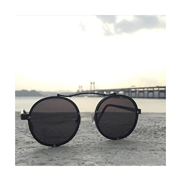 Caponi Vintage Round Steampunk Style Sunglasses Black 1762 5