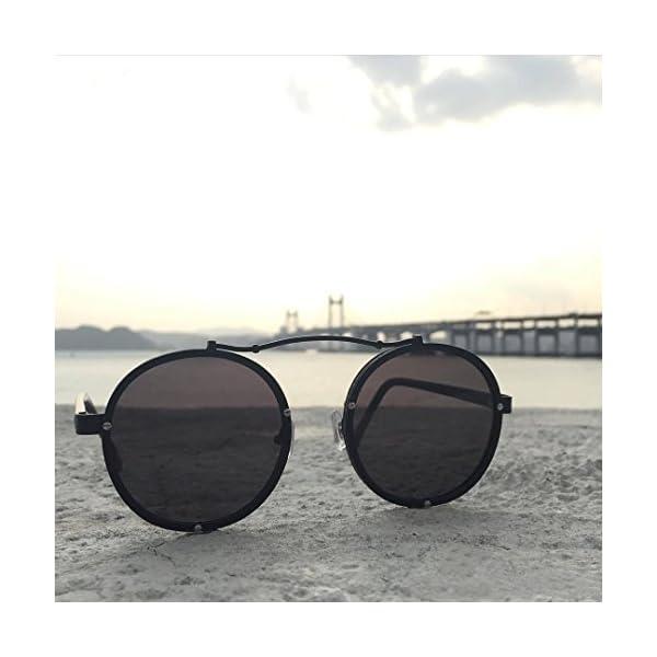Caponi Vintage Round Steampunk Style Sunglasses Black 1762 5