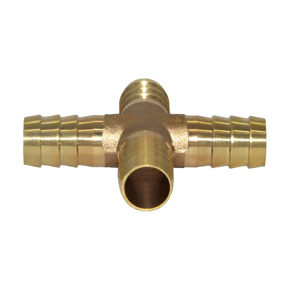 6mm ID Hose Barb 4 Way Union Fitting Pipe Cross Intersection//Split Brass Water//Fuel//Air Joyway 1//4