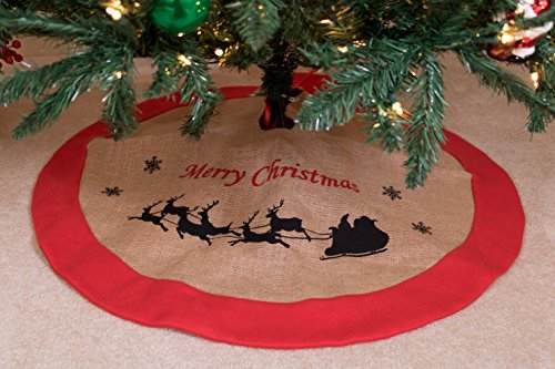 Burlap Christmas Tree Skirt by Clever Creations | Reindeer and Snowflake Print | Festive Holiday Design | Contains Needle and Sap Mess on Floors | Tie Closure | Traditional Theme | 36