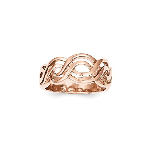 Amazon Solid 14k Rose Gold Infinity Ring 8mm Jewelry
