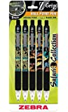 Zebra Z-Grip Animals Safari Collection Retractable Ballpoint Pen, 1.0mm, Assorted, 5 Pack (22805)