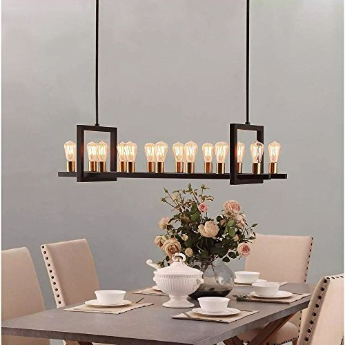 Farmhouse Chandelier Lighting Great For Dining Rooms And Kitchen Island Areas. Rectangular Linear Hanging Lamp Set Provides Ample Illumination. Timeless Atmosphere By Modern Rustic Long Light Fixture. (Dining Rectangular Room)