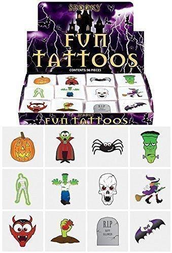 48 x Spooky Halloween Vampire Pumpkin Bats Kids Pretend Transfers Tattoos