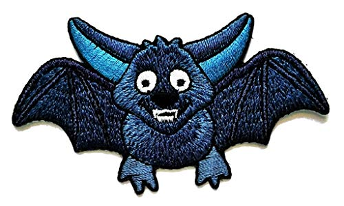 PP Patch Cute Blue Baby Vampire bat Scary Cartoon Kids Embroidered Iron Patch Sticker Sew On Patch Clothes Hat Bag T-Shirt Jeans Badge Applique for Reward Kids Children]()