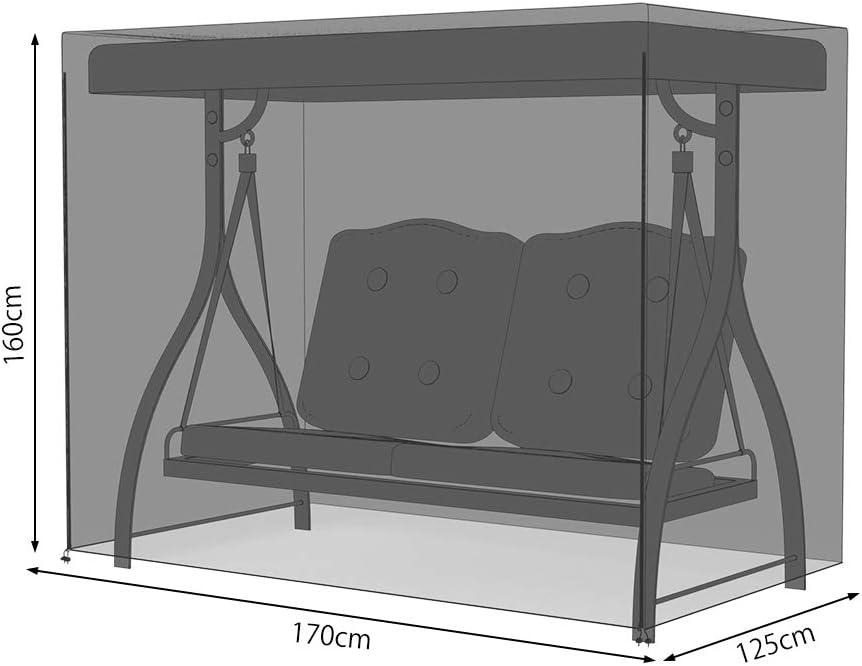 Dightyoho Funda para Balanc/ín y Muebles de Jard/ín Impermeable 2 Asientos 220 x 125 x 170 cm Protecrora de Columpio Anti Rayos UV