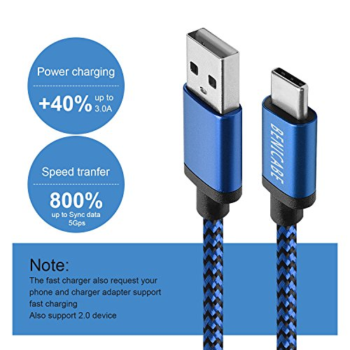Large Product Image of Galaxy S9 Charger, Benicabe (6 Ft 2-Pack) Nylon Braided Cord, USB 3.0 Type C (3 Amp) Fast Charging Cable for Samsung S9 Plus S8 Note 8, LG V20, Pixel 2, Moto Z, Nintendo Switch (Red & Blue)