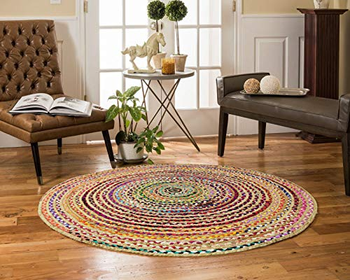 Cotton Craft Jute & Cotton Multi Chindi Braid Rug, Hand Woven Reversible, 8-Feet, Colors may Vary