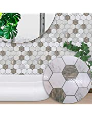 10 Pcs Hexagon Marble Mosaic Self-Adhesive Square Peel and Stick Non-Slip Waterproof Removable PVC Bathroom Kitchen Decor Floor Wall Stair Tile Sticker