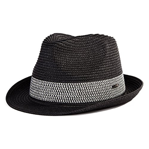 (Large Mens Straw Fedora Panama Hat Women Summer Beach Derby Packable Gangster Black)