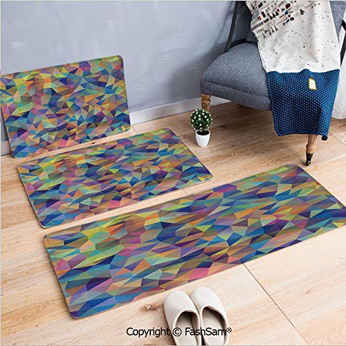 FashSam 3 Piece Non Slip Flannel Door Mat Abstract Colorful Triangles Shapes Ornate Crystal Trendy Illustrations Decorative Indoor Carpet for Bath Kitchen(W15.7xL23.6 by W19.6xL31.5 by - Light Cast Ornate Six