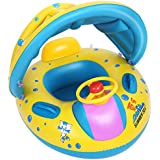 LHS Baby Pool Float, Safety Baby Swimming Ring Floats Canopy Shade Children Baby Swimming Pool Floats Toys The Age 6-36 Months Baby Boat Beach Pool
