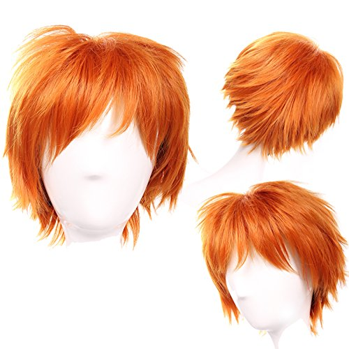S-noilite Unisex Women Short Curly Straight Cosplay Wig Anime Hair Tail Full Wigs Dark Orange (Adult Short Pink Wig)