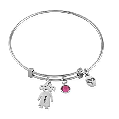 9edd11e629981 Personalised Children Charms Mothers Necklace-Engraved Boy-Girl Charm-Sterling  Silver Gift for Mum  Amazon.co.uk  Jewellery