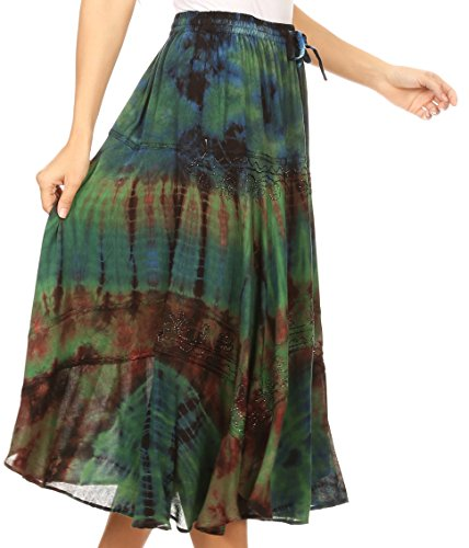 Midi Sakkas lastique Vert avec Dance lastique mi Taille Taille Jupe Longue Justina Womens ZRR7Pfq