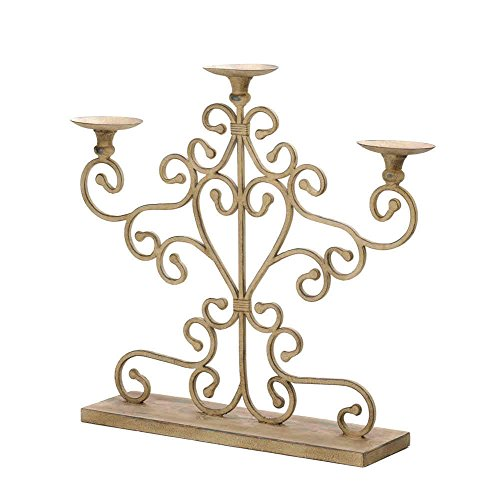 Cast Iron Candelabra Beautiful Scroll Antique Look Candle Holder Home Decor