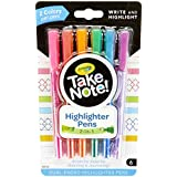 Crayola Take Note Dual Tip Highlighter Pens, Assorted Colors, School Supplies, At Home Crafts for Kids, 6 Count